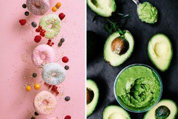 Coleção de fotos: prazer culpado vs comida saudável -