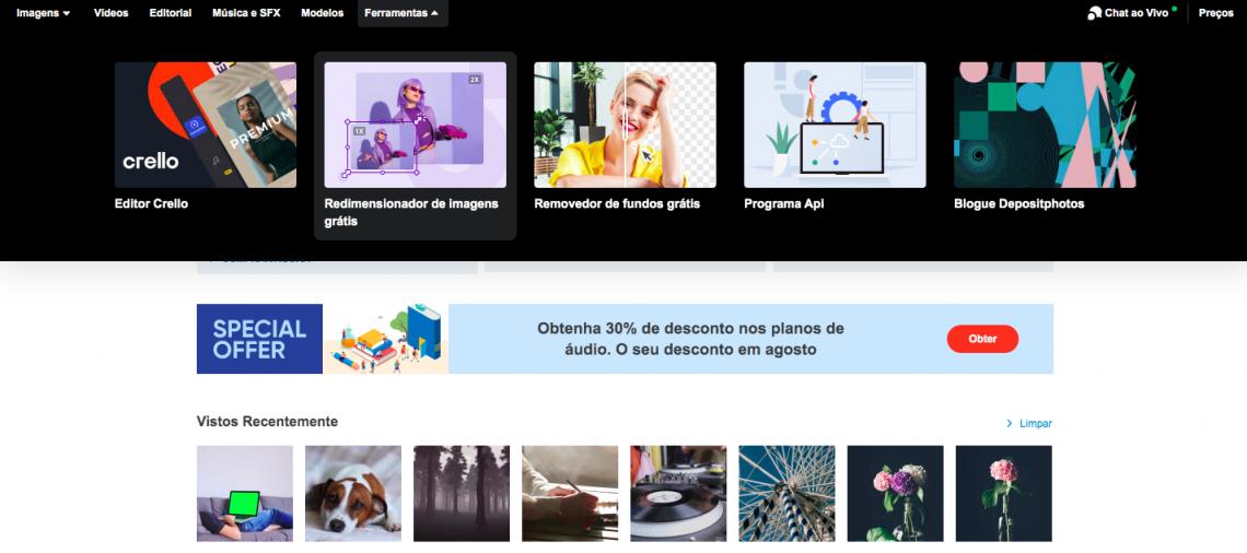 Free Image Upscaler by Depositphotos menu PT