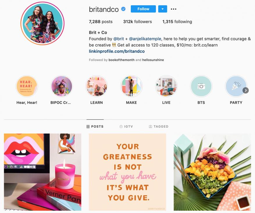 Brit+Co 5 strategii prowadzenia firmowego konta na Instagramie