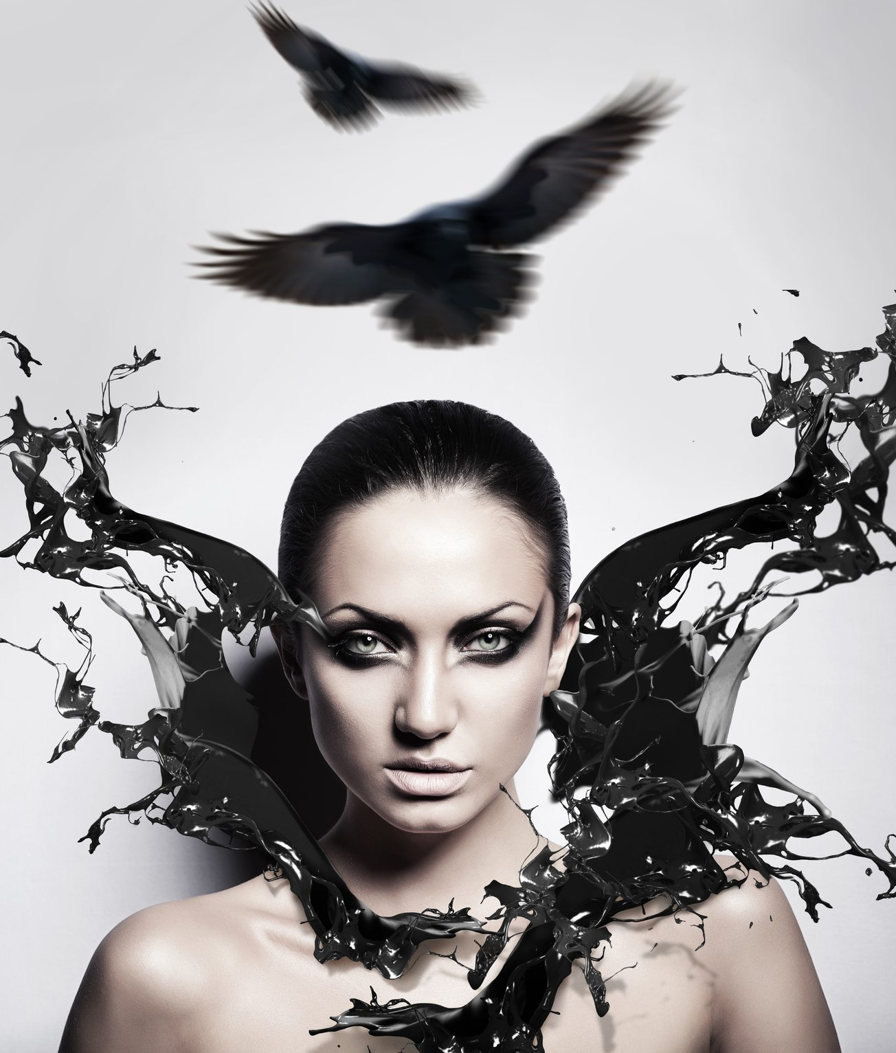 sexy brunette woman with black splash and crows