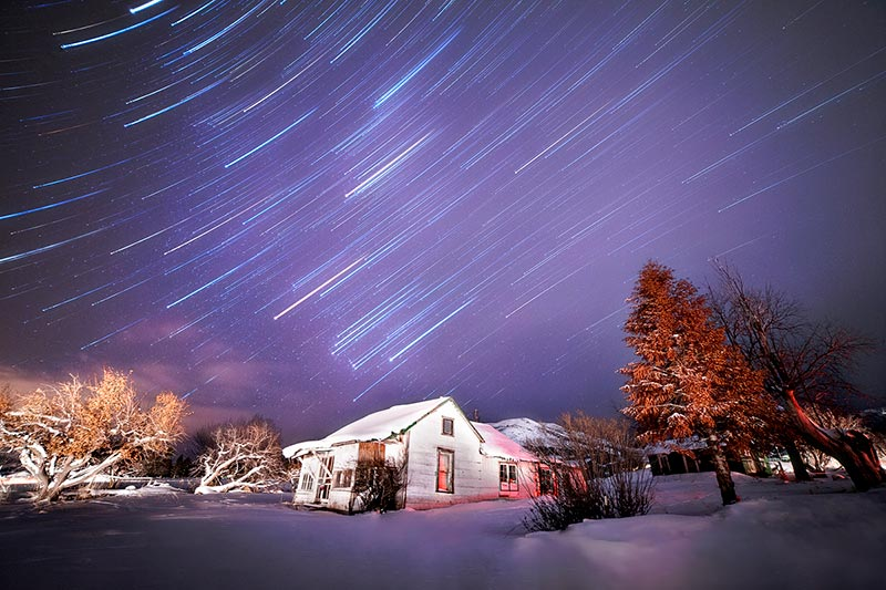The Constellation Orion in a long exposure forming star trails