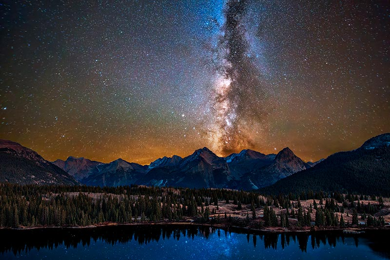 The glorious center of our Milky Way rising above the mighty Grenadier Mountains near Silverton, CO