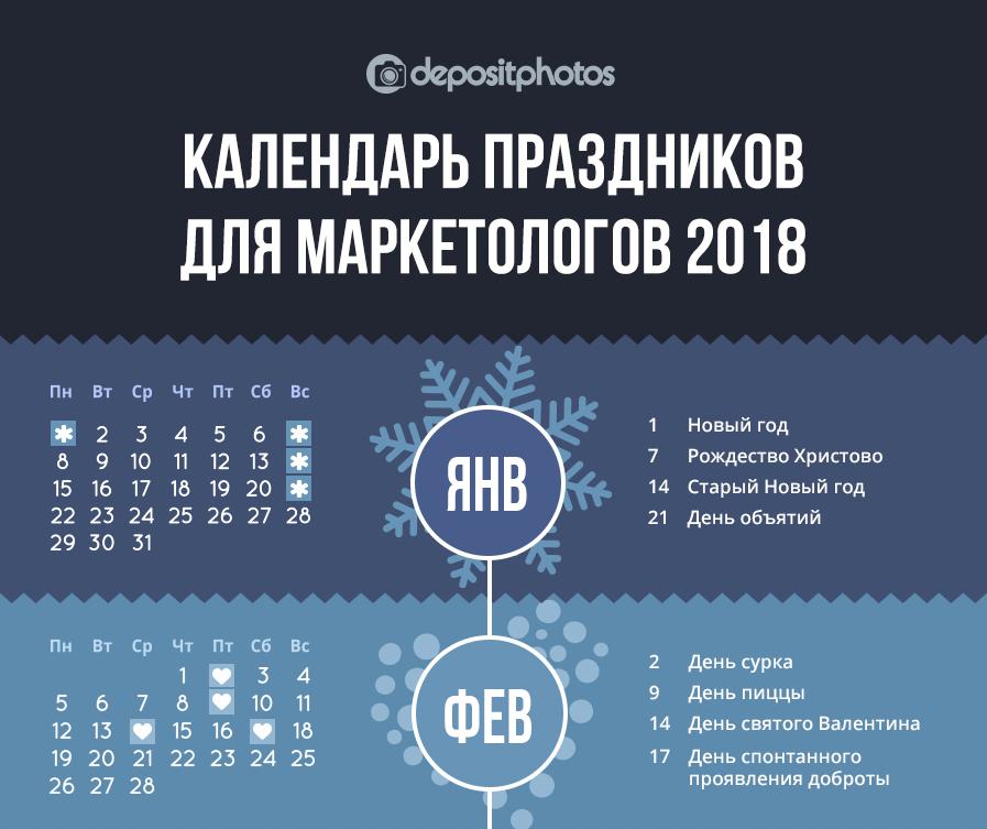 Календарь праздников для маркетологов на 2018 год [Инфографика]