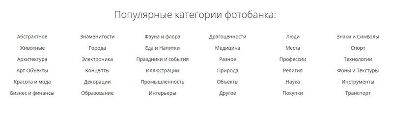 Популярные категории фотобанка depositphotos
