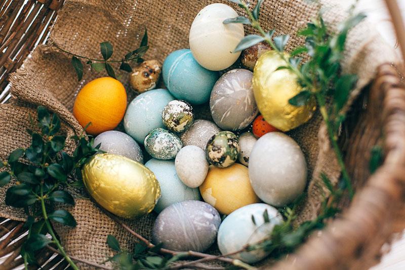 корзинка с пасхальными яйцами фото