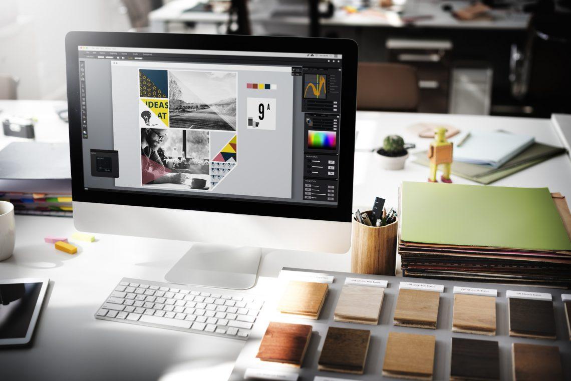 дизайнерский проект на экране компьютера фото