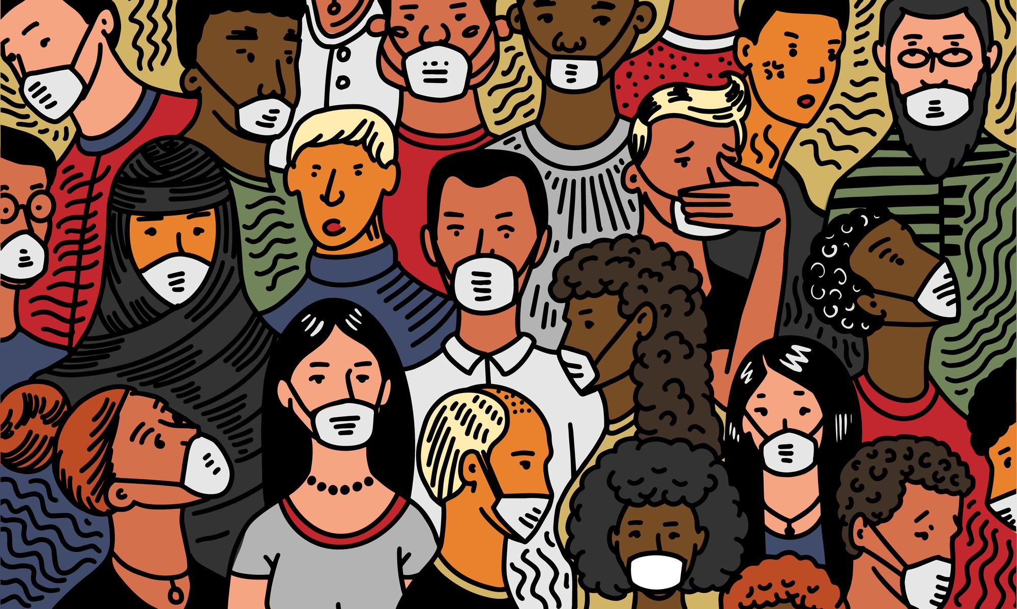 Иллюстрация люди в масках