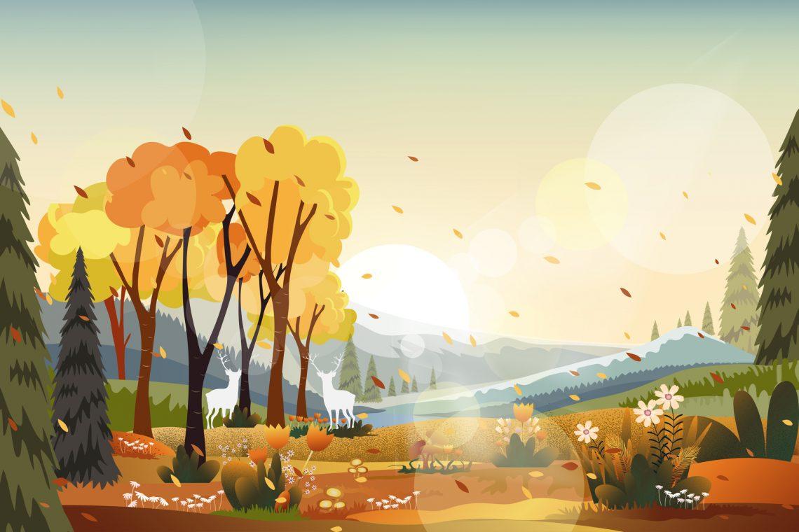 Ілюстрація осінній ліс з оленями