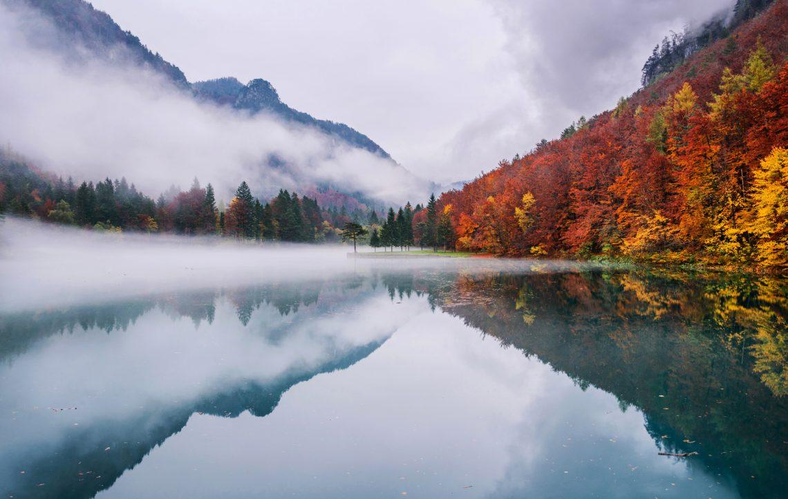 Туман над озером на фоні гір і лісу фото