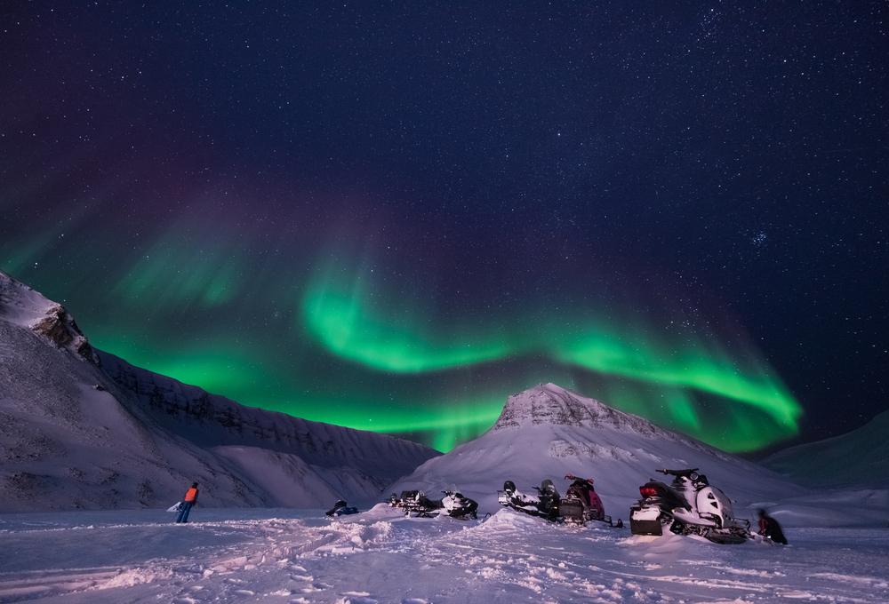 Фото північне сяйво Норвегія гори