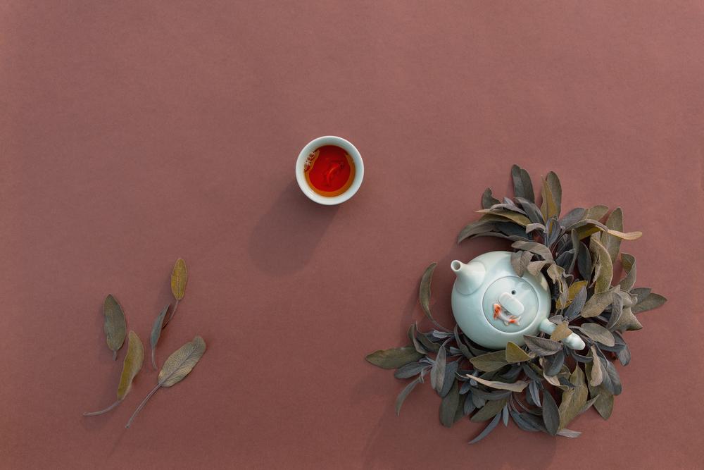 Фото чашка чаю і заварник згори