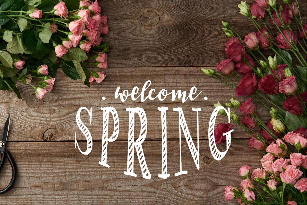 Картинка з написом Welcome spring на дерев'яному фоні