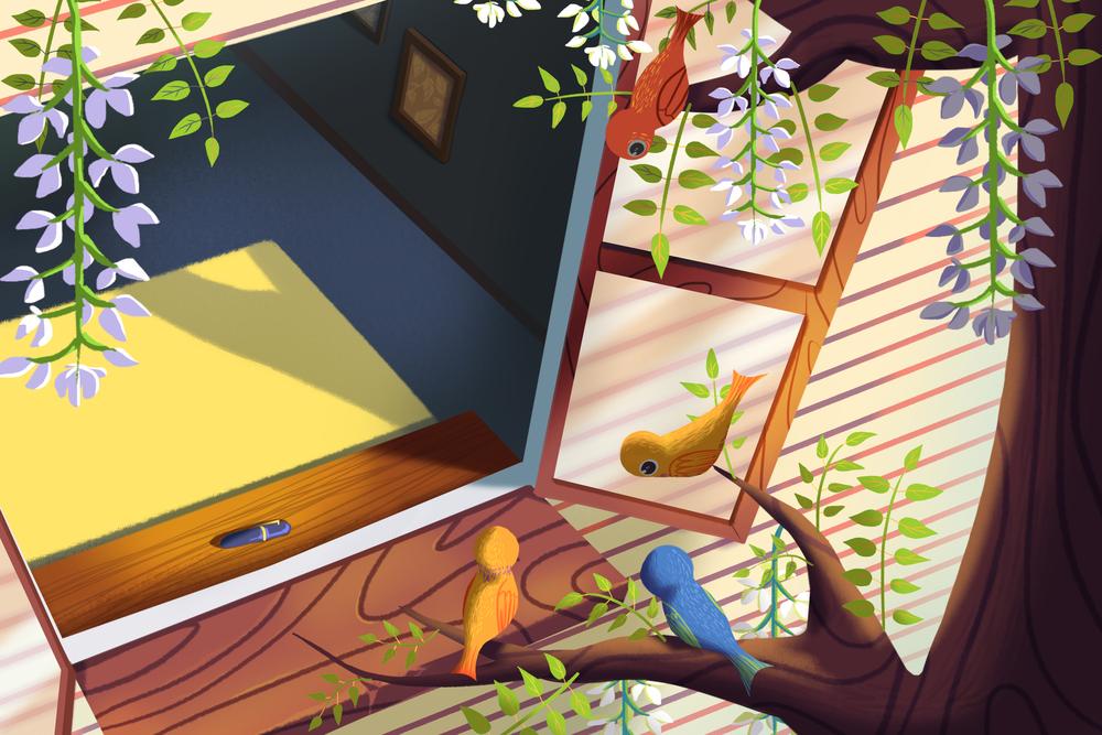 Ілюстрація пташки на гілці біля вікна