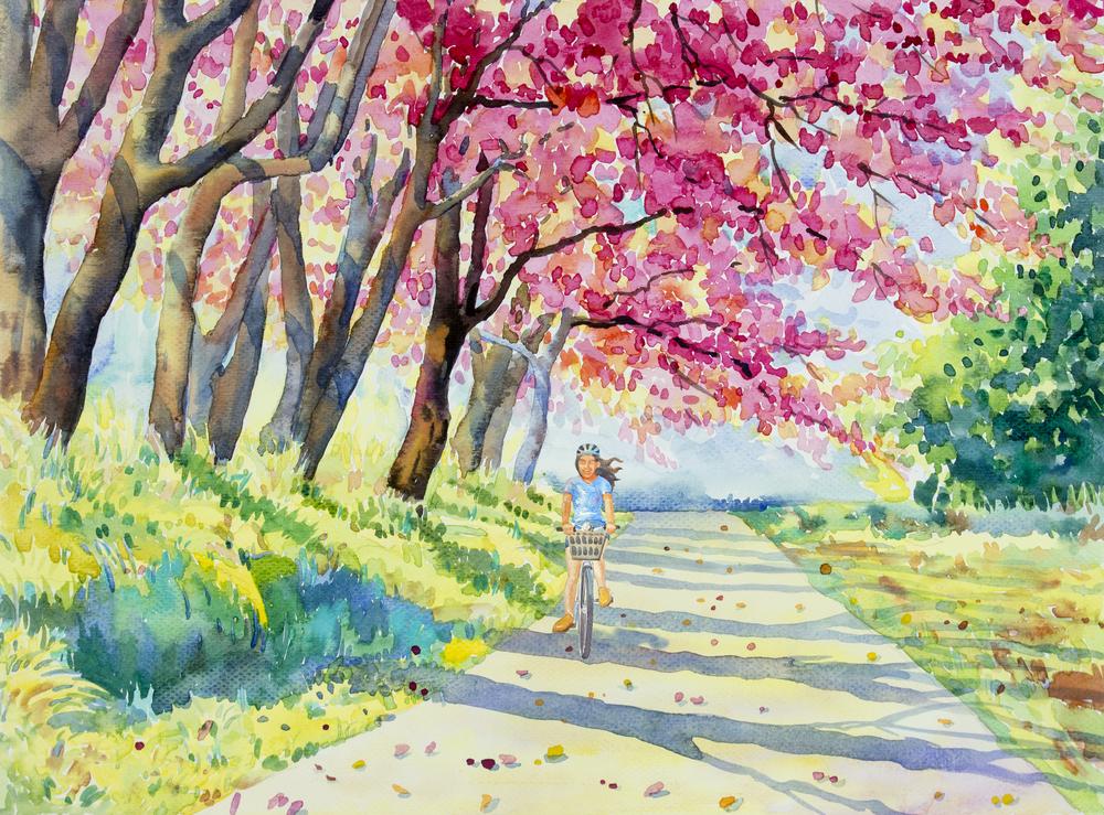Ілюстрація алея з квітучими деревами