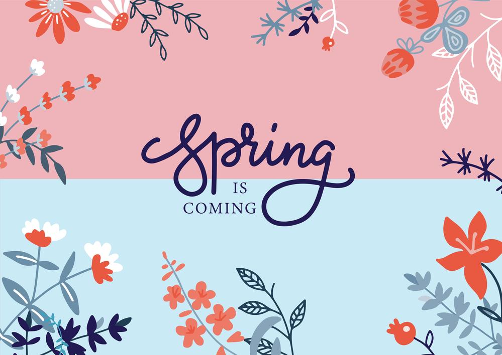 Вектор квіти з написом Spring