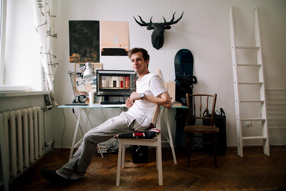 Фото молодий чоловік працює вдома