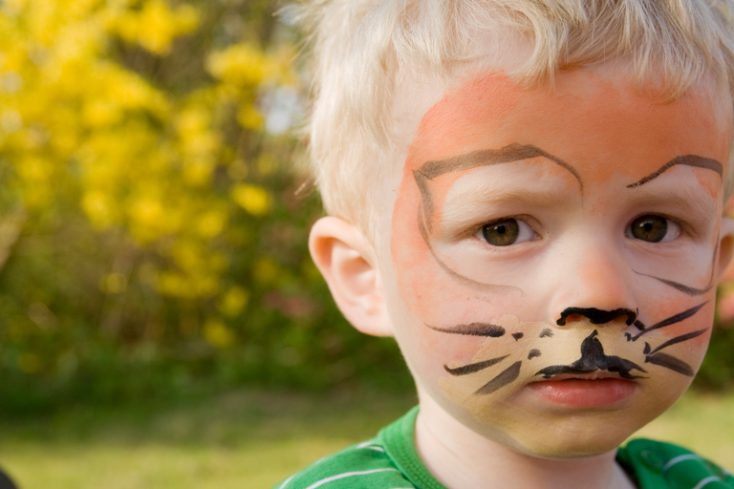 Face paint tiger boy child © Depositphotos