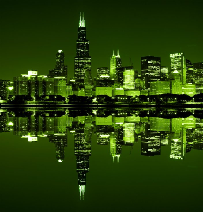 Chicago on St Patrick's Day © Depositphotos