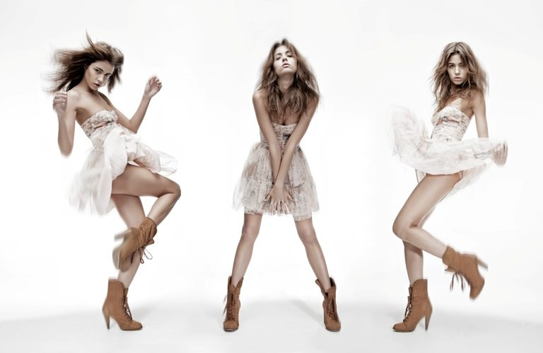 Triple image of fashion model in different poses © Depositphotos