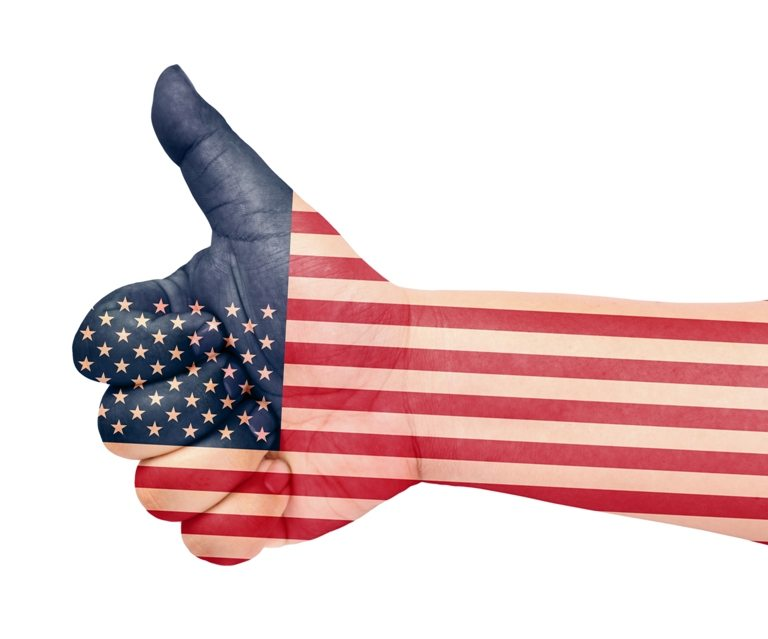 USA flag on thumb up gesture like icon © Depositphotos