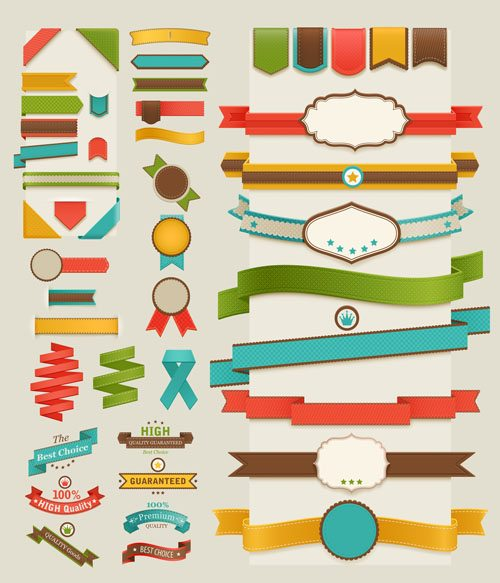 Set of retro ribbons and labels | © Depositphotos |Aviany
