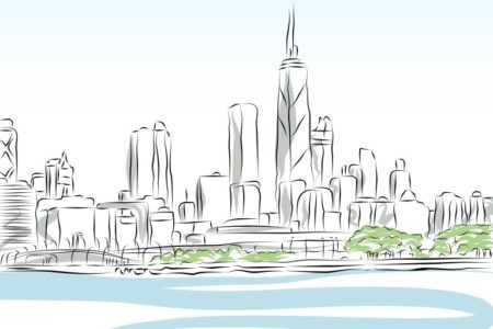 Chicago Cityscape Line Drawing | Stock Vector © John Takai