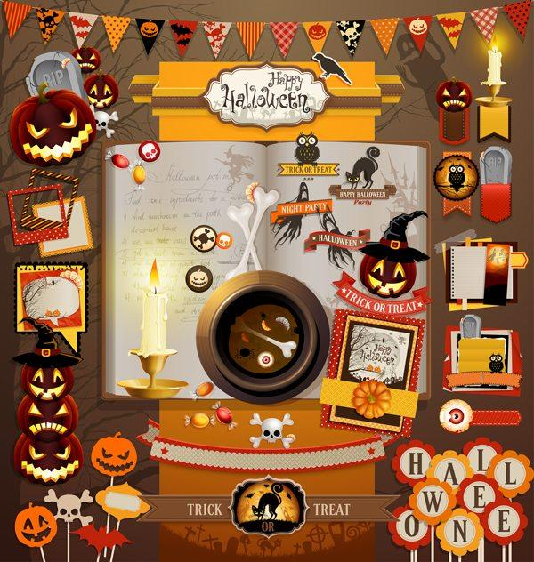 Illustration of Halloween scrapbook elements