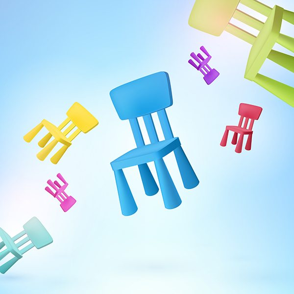 Free! Free! Free! Seamless colored chair vector