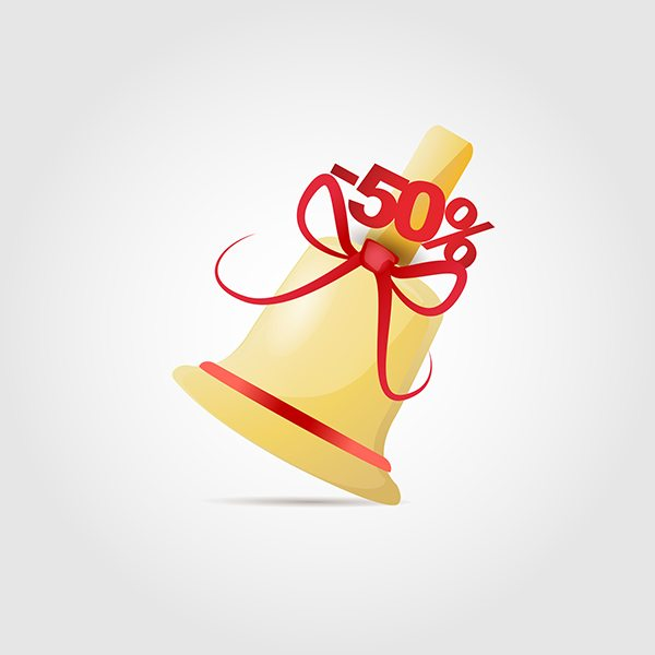 Bell with bow vector