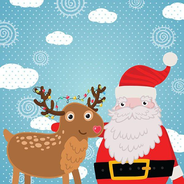Christmas greeting card with deer and Santa Claus.