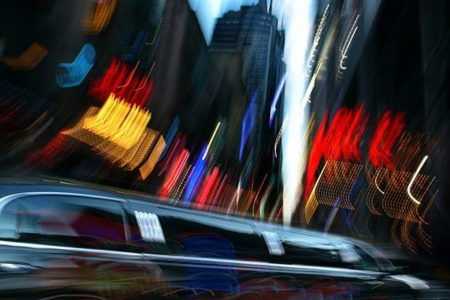 night city of intentional motion blur