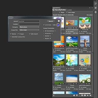 Depositphotos extension for Adobe Photoshop, InDesign and Illustrator screenshot