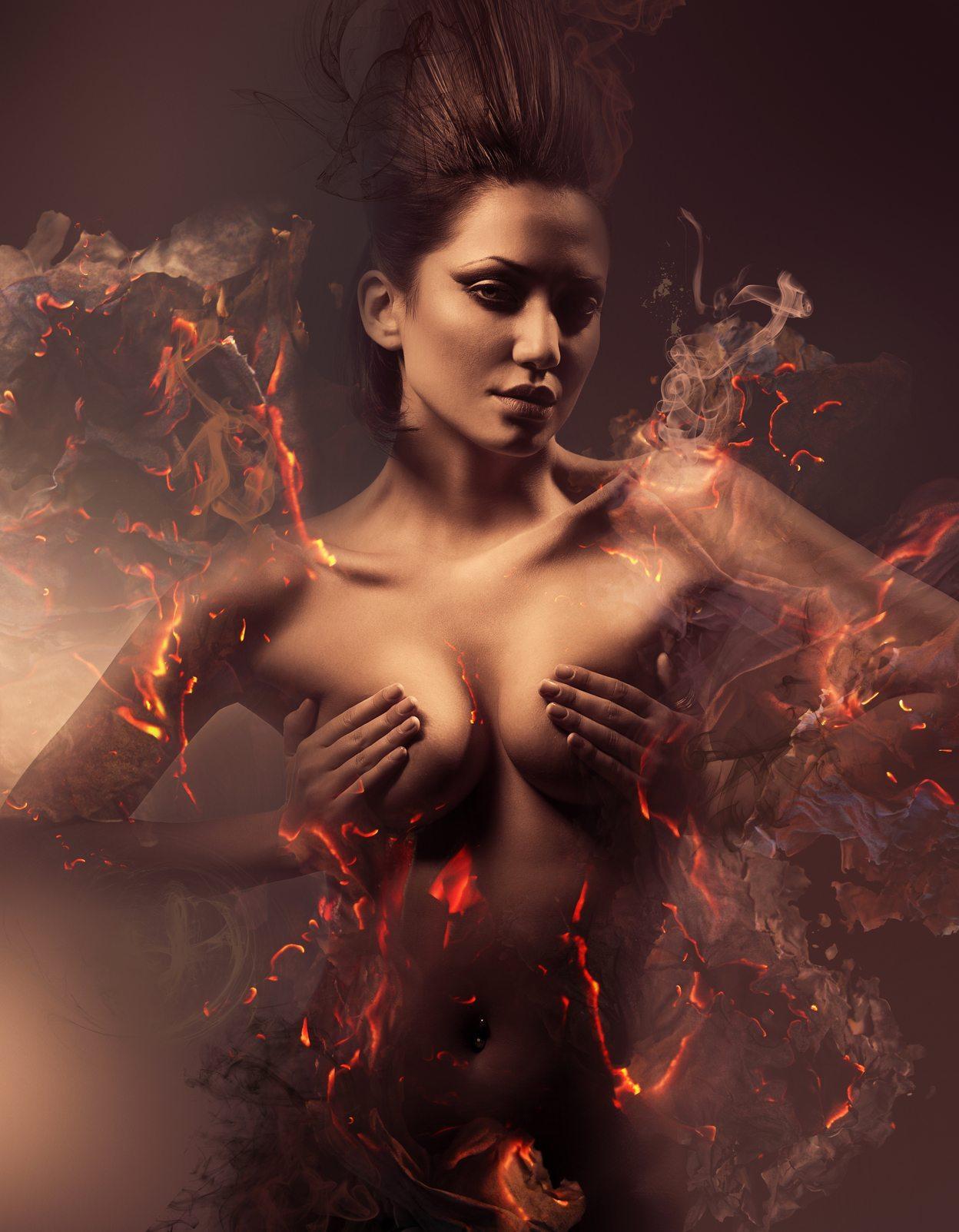 burning erotic sexy beautiful woman in dirty mist
