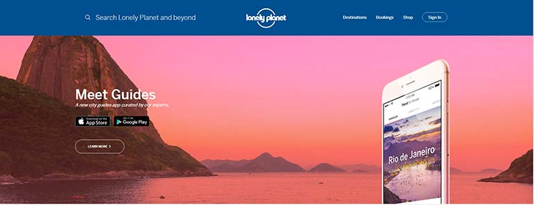 lonely planet photogrpahy and web design visual content marketinng