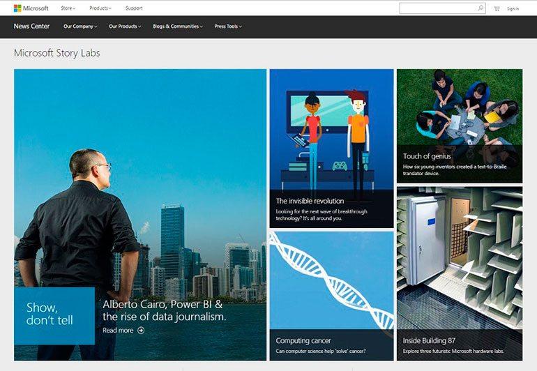 Microsoft stories blog design