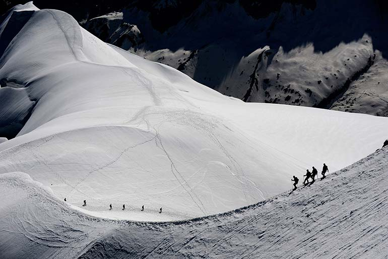 a year in pictures july 1 2016 alpinists on the mont blanc massif in the french alps