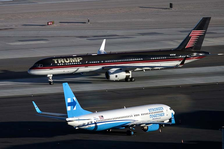 a year in pictures october 19 2016 the planes of donald trump and hillary clinton