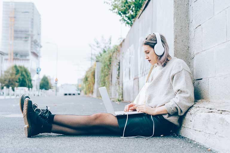 laptop girl blog stock photo