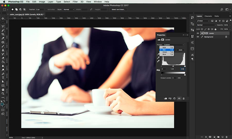 how to remove a color cast in photoshop 8