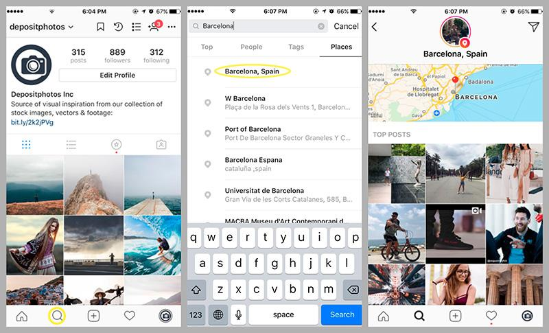 how to view images by location instagram