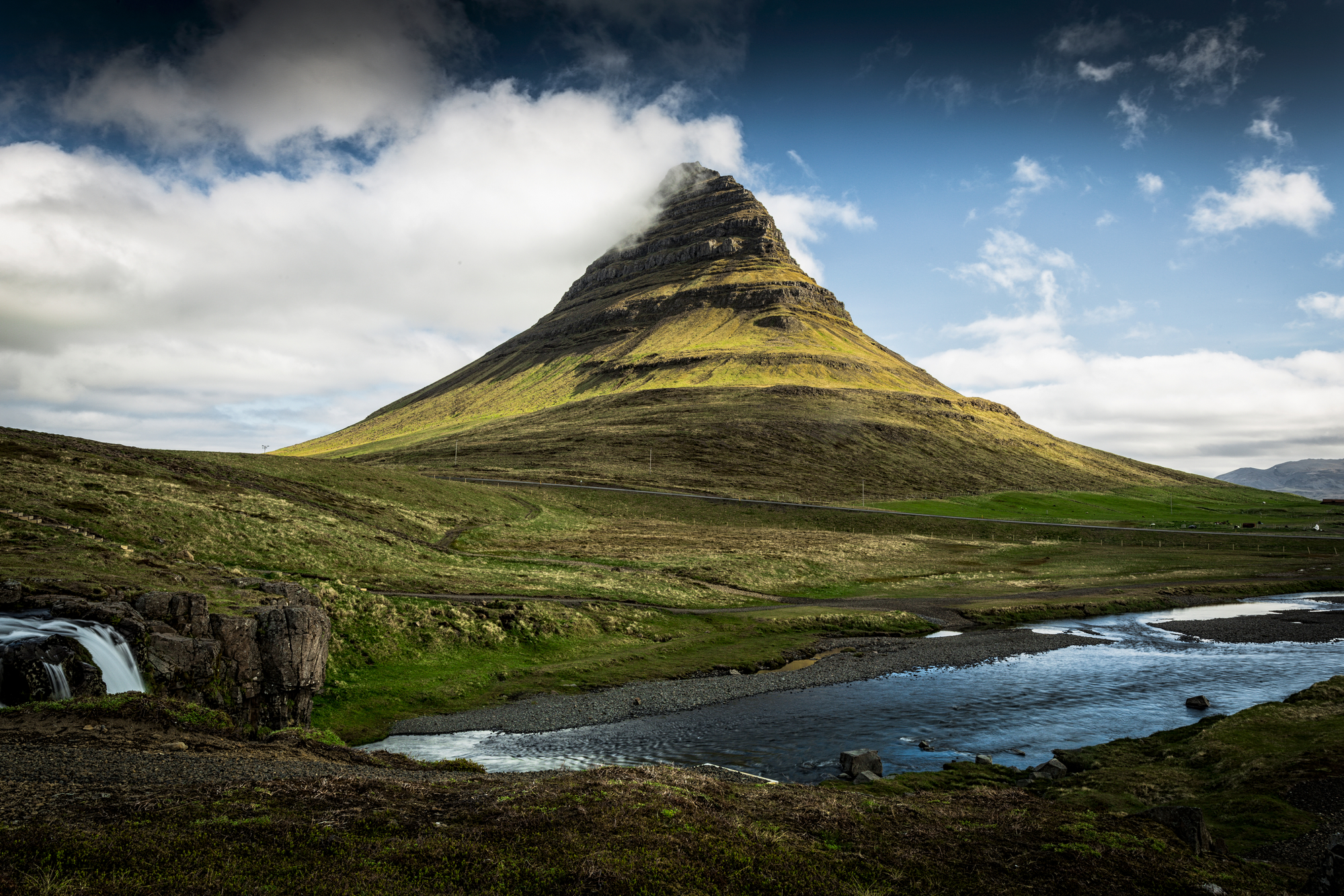 The beautiful kirkjufellsfoss volcano in Iceland stock photo
