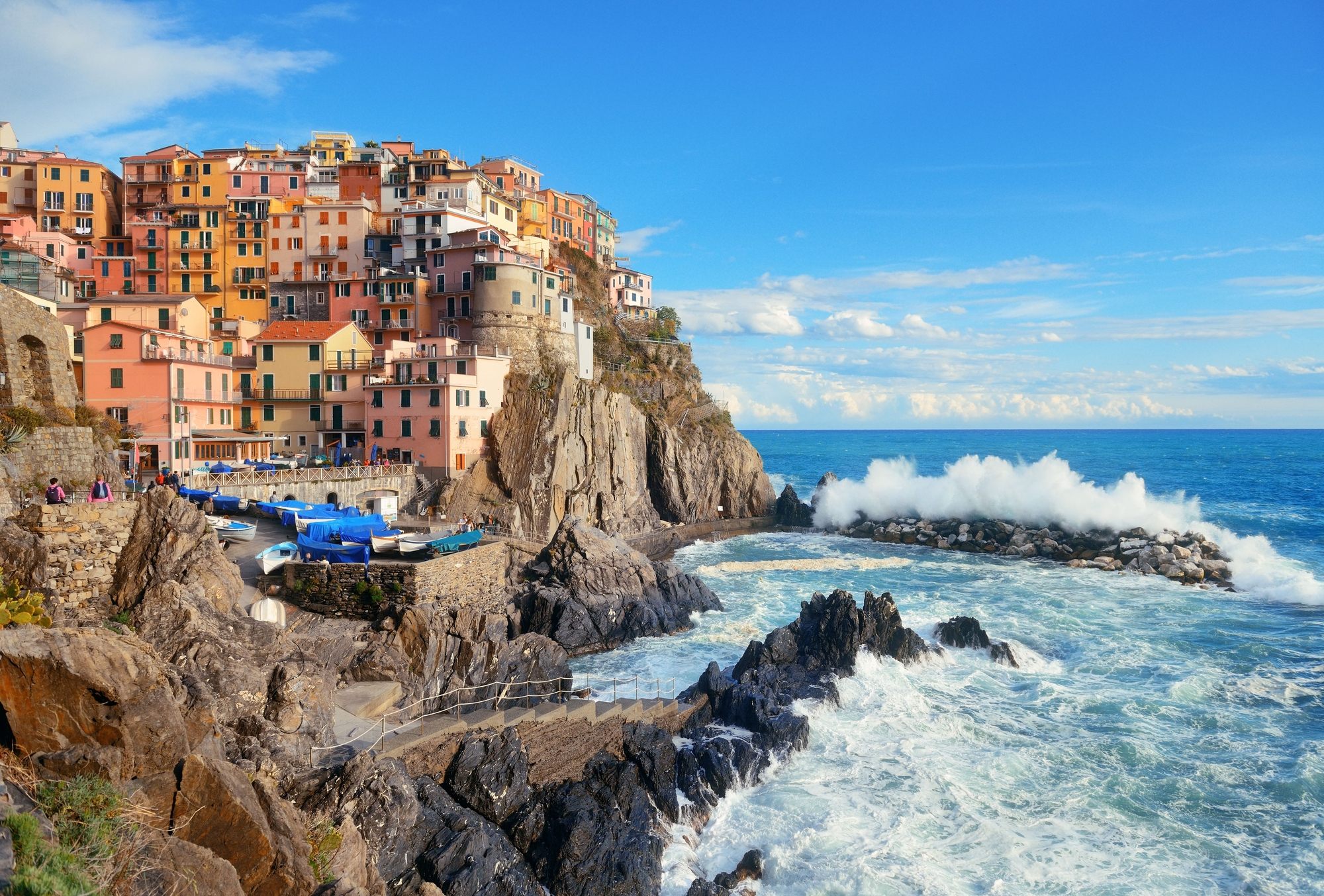 cliff in Cinque Terre, Italy stock photo