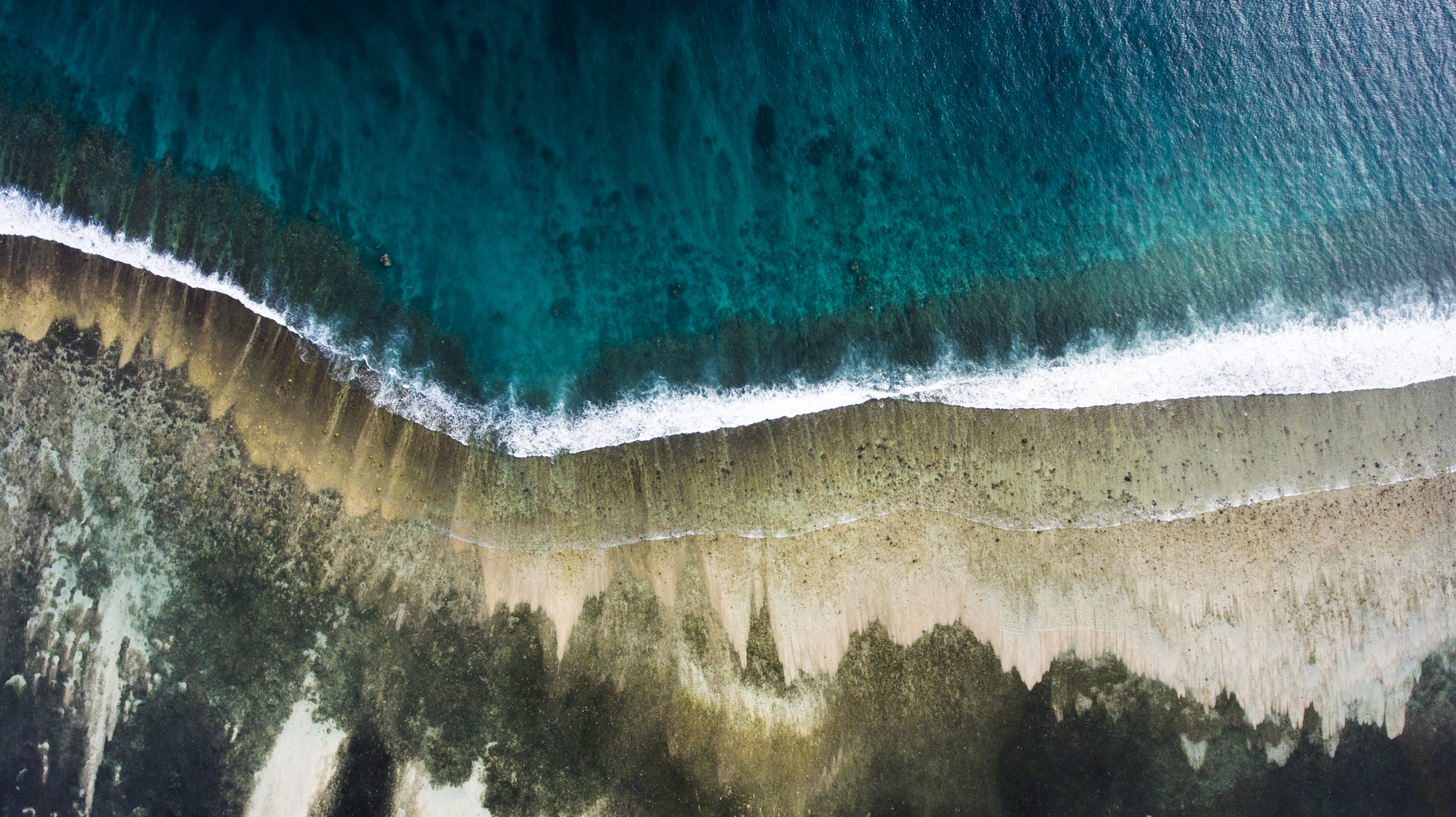 Top view aerial photo from flying drone of sea