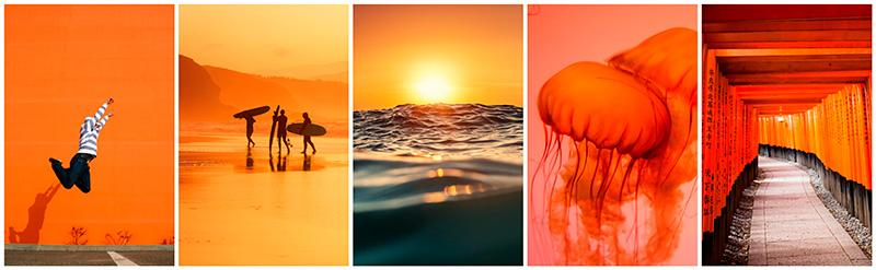 pantone's-flame-color-featured-collection-stock-photography
