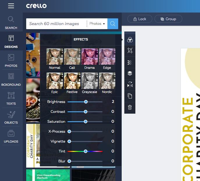 best online tools to edit photos Crello 2