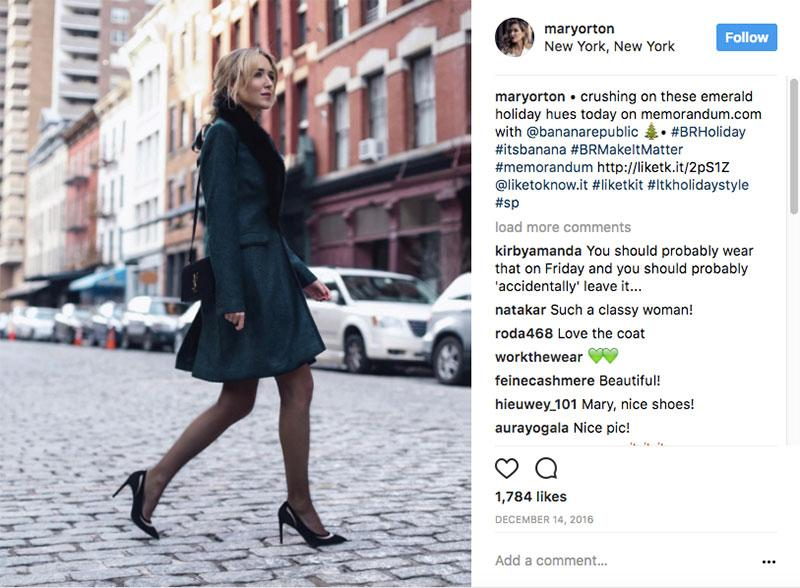 example of micro influencer marketing from banana republic