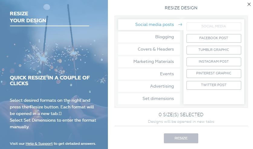 how to resize designs for different platforms and social media