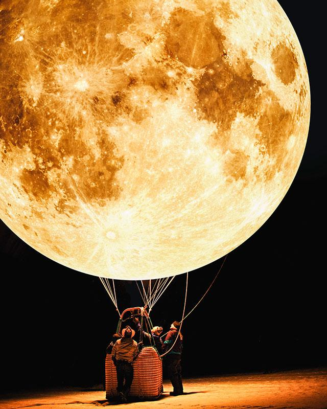 Justin Peters digital collages with stock photography   Moon Balloon