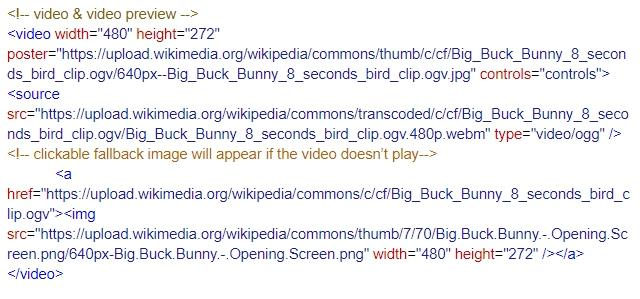 screenshot of HTML code to video in emails