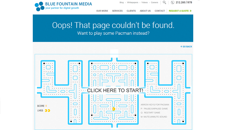 Blue Fountain Media 404 error page
